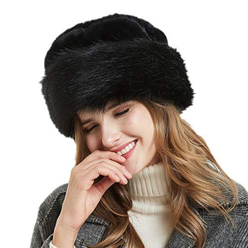 Soul Young Fellmütze Pelzmütze Damen mütze Wintermütze Faux Fuchs Pelz Warm Weich Leoparden Hut(Schwarz)