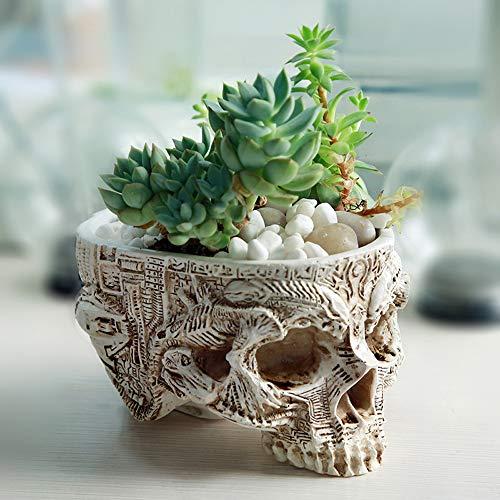 CHEZMAX Kunstharz Succlent Halter Halloween Totenkopf Candy Bowl Flower Pot Dish Statue Skelett Floral geschnitzt -