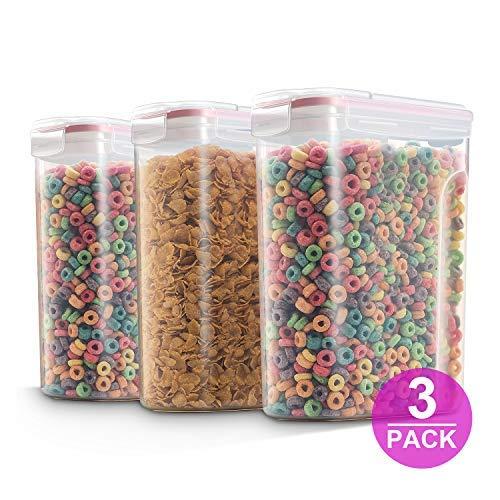Rosa set di 3grandi contenitori di riso, contenitore per cereali, dispenser di cereali tuta per farina zucchero qualsiasi cibo secco (4l 3.827,2gram)