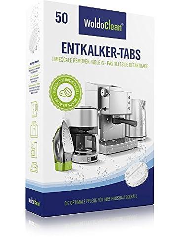 WoldoClean 50x Entkalker-Tabletten Entkalkertabs für Kaffeevollautomaten Kaffeemaschinen und Wasserkocher
