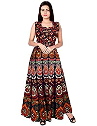 65f36d79d2 Monique Present Rajasthani Traditional Cotton Designer long Dress in  Jaipuri Printed (Free Size UPTO 44XL