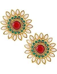 Adiva Kundans Jewellery Maroon Green Metal Alloy Studs Earrings For Women
