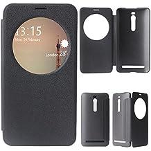 ZenFone 2 Flip Cover, para Asus Zenfone 2 ZE551ML View Case, Asnlove View Flip Funda de PU Cuero con Venta Ronda Protective Flip Shell Carcasa Libro Ultra Fina Función de Wake-up Imán, Negro