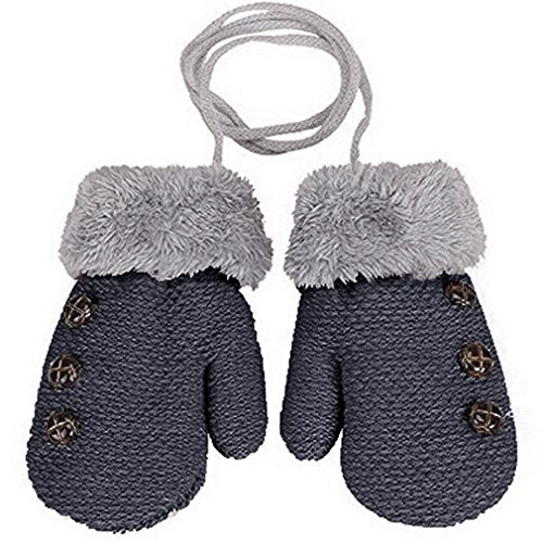 HENGSONG Warm Gloves Kids Baby Boys Girls Toddler Knitted Mittens Leaf Gloves (Dark grey)