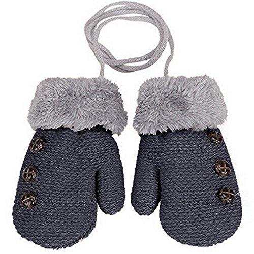 HENGSONG Warm Gloves Kids Baby Boys Girls Toddler Knitted Mittens Leaf Gloves (Dark grey)