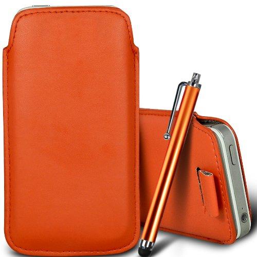 Brun/Brown - Jolla Jolla Mobile Phone Housse deuxième peau et étui de protection en cuir PU de qualité supérieure à cordon avec stylet tactile par Gadget Giant® Orange & Stylus Pen