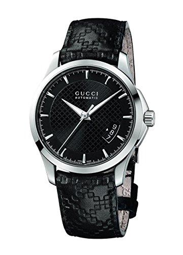Gucci G TIMELESS YA126413 - Orologio da polso da uomo, cinturino in pelle colore nero
