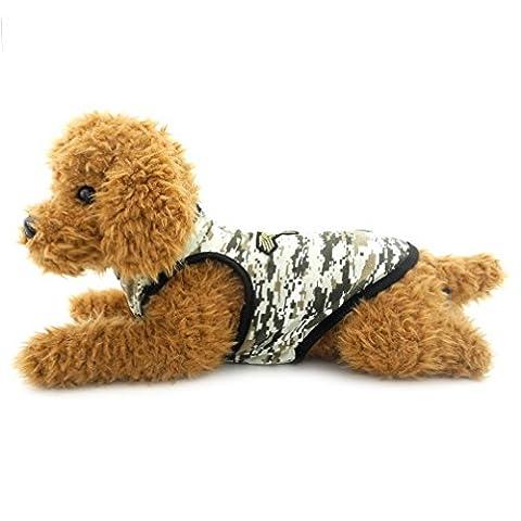 Ranphy Puppy Gilet pour petit chien/chat armée Camouflage T-shirt en coton Chiot Vêtements d'été Doggy