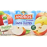 ANDROS Compotes de Pommes en Gourdes sans sucres ajoutés 18 x 90 g
