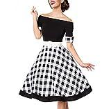 Belsira Schulterfreies Swing-Kleid Mittellanges Kleid schwarz/weiß M