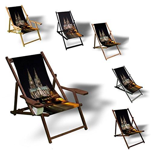 Printalio Skyline Köln - Liegestuhl Bedruckt Balkon Garten Sonnenliege Relax Holz Terrasse | mit...