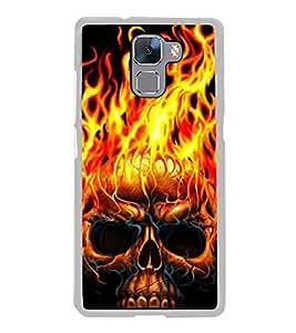 Burning Skull 2D Hard Polycarbonate Designer Back Case Cover for Huawei Honor 7 :: Huawei Honor 7 Enhanced Edition :: Huawei Honor 7 Dual SIM
