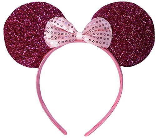 Rosa (Minnie Mouse Glitter Ears) Glitzernden Minnie Maus Ohren Kostüm (Erwachsene Minnie Maus Kleid)
