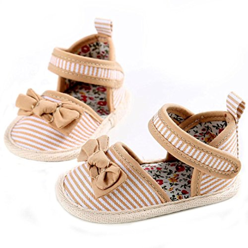 Ouneed® 0- 18 mois Bebe Sandale Papillon Noued Cotton Premier Pas (12cm, Vert) Kaki