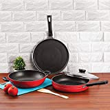 Anjali Fab Nonstick Induction Base 3 Pcs Cookware Set,Red