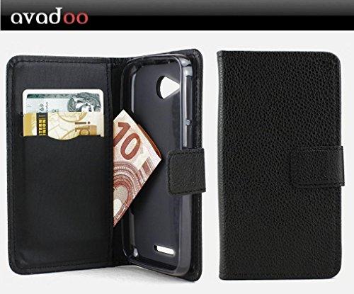 avadoo® Phicomm Clue M Flip Case Cover Tasche Schwarz mit Magnetverschluss & Dualnaht als Cover Tasche Hülle