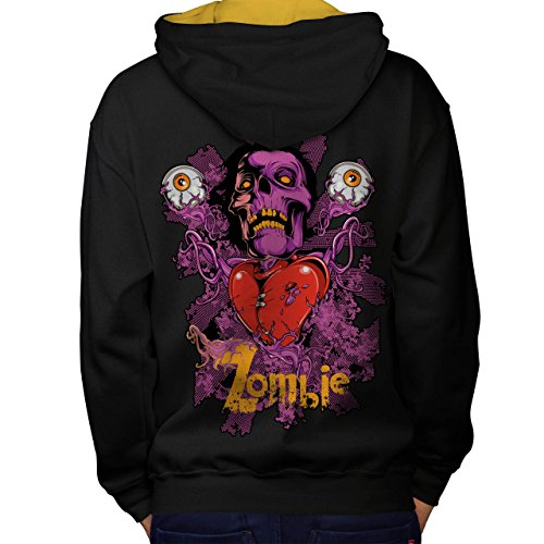 Zombie Indische Kostüm (Knallhart Herz Auge Zombie Schädel Liebe Men M Kontrast Kapuzenpullover Zurück |)