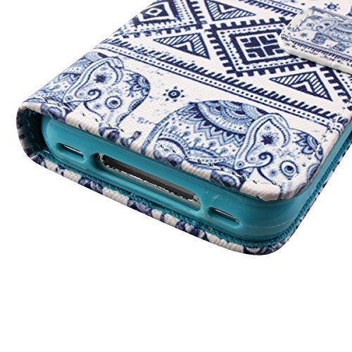 iPhone 4S Hülle, iPhone 4 Hülle,ISAKEN iPhone 4S Hülle Case,Handy Case Cover Tasche for iPhone 4S / iPhone 4, Bunte Retro Muster Druck Flip PU Leder Tasche Case Hülle im Bookstyle mit Standfunktion Ka Aztec Elefant