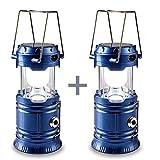 2 pezzi Camping Lanterna , HLZDH campeggio solare Luci lanterna da pieghevole Portatile Campeggio Illuminazione da Esterno Lanterna torcia a LED per Pesca, Emergenze, Outdoor, Viaggio, Escursionismo, Trekking, campeggio, pesca notturna (blu)