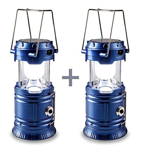 HLZDH - Paquete de 2 luces solares paracamping, farol de acampada de LED recargable y linterna portátil para exterior, camping, etc., plegable y extensible