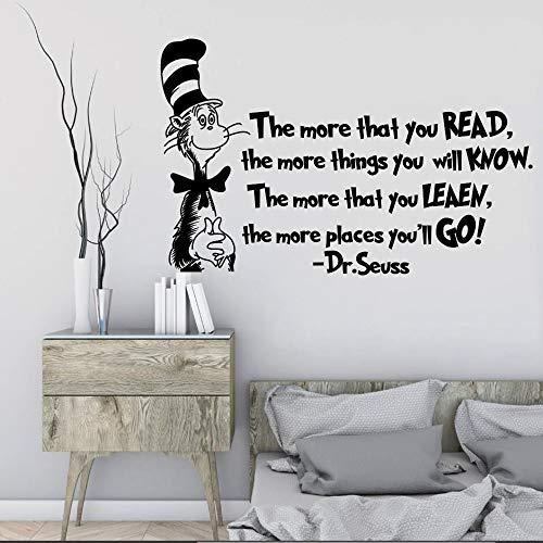 Wandaufkleber Je mehr Sie Lesen Wanddekoration Katze Im Hut Kinderzimmer Aufkleber Dekor Poster Removeable 42 * 67 cm -