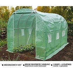 Serre de jardin | Tunnel serre de jardin | Serre de jardin tunnel 6m2 en acier galvanisé | Serre de jardin maraichère verte | Idéale pour faire pousser et protéger vos plantes en toutes saisons