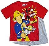 Feuerwehrmann Sam Schlafanzug Shorty Jungen (Rot-Grau, 110)