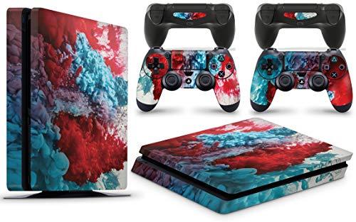 Gizmoz n Gadgetz GNG Adesivi in Vinile per PS4 Slim con Il Logo di Colour Explosion 3 per Console E per 2X Controllers