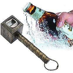 niceEshop(TM) Abridor de Botellas de Cerveza,Martillo de Thor en Forma Abrebotellas Sacacorchos de Vino Llave de Bebida,Oro