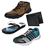 #4: Earton Men Combo Pack of 4 Sports Shoe With Wallet & Slipper