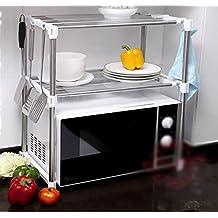 Cocina Rack de almacenamiento Estante Microondas Rack de horno Rack de almacenamiento de doble capa Estante de tazón