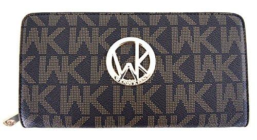 blancho-bedding-womens-wendy-keen-pu-leather-wristlet-wallet-zipper-purse-card-holder-brown