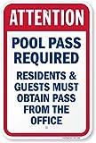 Attenzione piscina pass required, abitanti e gli ospiti devono ottenere pass from the office Sign, 45,7x 30,5cm