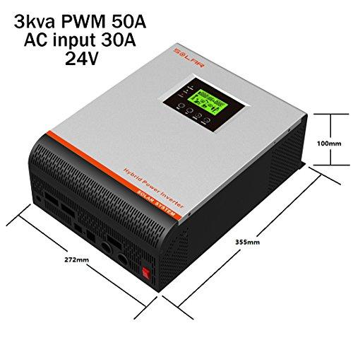 Wechselrichter, reine Welle, hybrid, 3kVA / 5kVA, 24V / 48V, Laderegler 50A MPPT / 60 A Ladegerät 30A und 60 A 3Kva 24V Regulador 50A Cargador 30A Grau/Rot