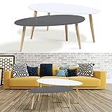 IDMarket - lot de 2 tables basses gigognes laquées gris blanc scandinave