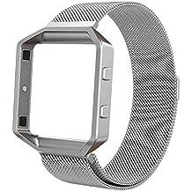 Fitbit Blaze Correa, Swees Milanese Loop magnético de acero inoxidable correa para Fitbit Blaze Smart Fitness Watch con Marco de metal – Plata