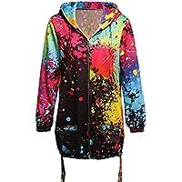 770282296e58 AIMEE7 Veste Femme Hiver Chaud Chic Teinture Coloré Imprimer Manteaux à  Capuche Grande Taille Sweat à Capuche