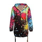 TOPKEAL Dick Jacke Warm Mantel Damen Herbst Winter Sweatshirt Mode Womens Tie Färben Hoodie Pullover Drucken Outwear Coats Mode Tops (XX-Large,Schwarz)