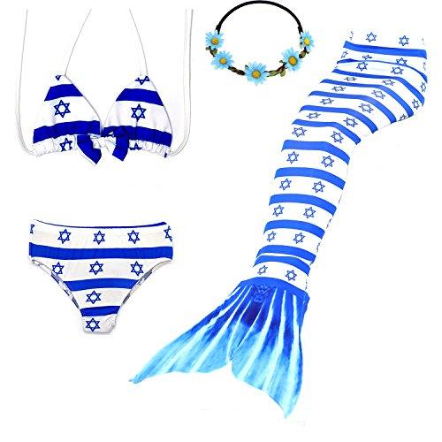 Israel Kostüm - UrbanDesign Meerjungfrau Bademode Mädchen Meerjungfrau Badeanzug Schwanzflosse Zum Schwimmen Kostüm Für Kinder, 11-12 Jahre, Israel