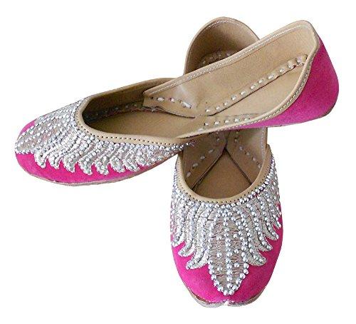 KALRA Creations Damen Traditionelle Handgemachte Samt Leder indischen  Hochzeit Schuhe Rose ...