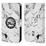 Head Case Designs Offizielle NBA Marmor Weiss 2018/19 Philadelphia 76ers Brieftasche Handyhülle aus Leder für iPhone 4 / iPhone 4S