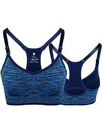JERKKY Ladies Women Sling Sujetador Deportivo Sujetador Superior Chaleco Gimnasio Fitness Yoga Correr Correr Azul L #