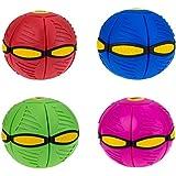 Flat Ball Luz LED Bola Plana DISCO Platillo volante Mágico cambio de Forma de Ventilación Pelota Rebotando Pelota de Juguete Bolas (Azul)