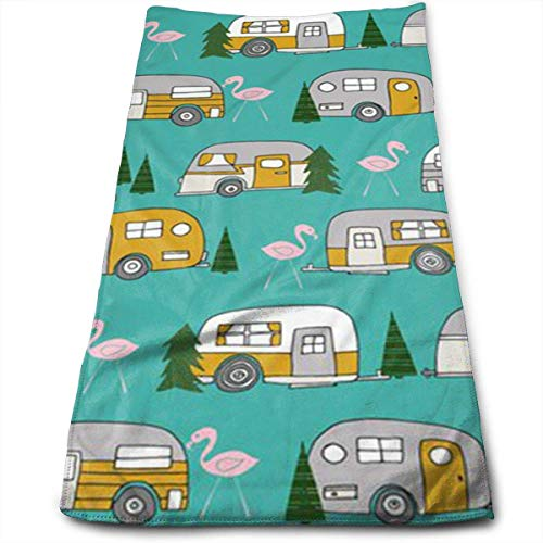 RAINNY Christmas Camper Flamingo Car Tree Wallpaper Bath Towels for Bathroom-Hotel-Spa-Kitchen-Set - Circlet Egyptian Cotton - Highly Absorbent Hotel Quality Towels 30x70 cm -