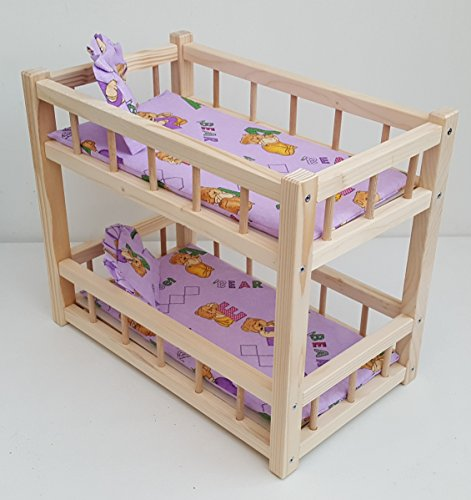 Wooden toy bunk bed for 2 dolls, fit dolls size 14