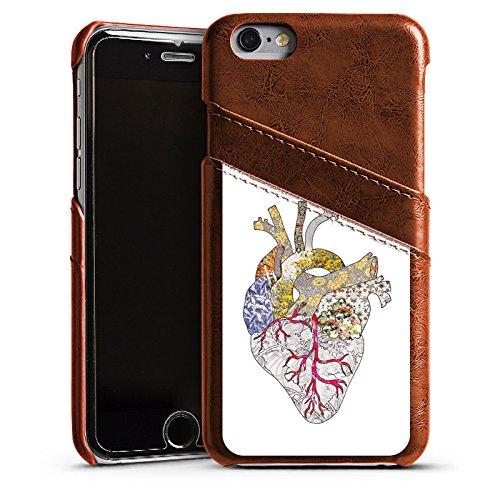 Apple iPhone 5 Housse étui coque protection Amour Amour C½ur Étui en cuir marron