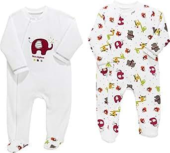 Baby Butt Schlafanzug 2er-Pack mit Applikation Elefant Nicki Interlock-Jersey weiß-bunt Größe 50 / 56