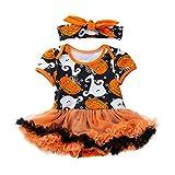 TEBAISE Mädchen Newborn 3 Stück Outfits Strampler + Tutu Kleid + Stirnband Oktoberfest Halloween Christmas Weihnachten Cosplay Kostüm