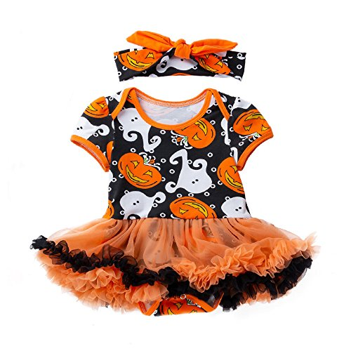 TEBAISE Mädchen Newborn 3 Stück Outfits Strampler + Tutu Kleid + Stirnband Oktoberfest Halloween Christmas Weihnachten Cosplay ()