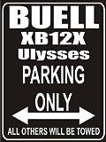 Indigos UG - Parking Only - Buell xb12x ulysses - Garage / Carport - Parkplatzschild 32x24 cm schwarz/silber - Alu-Dibond - Folienbeschriftung